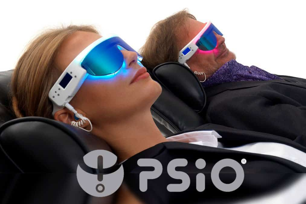 get PSIO at Foskaris Wellness, logo and lady wearing glasses lying down.